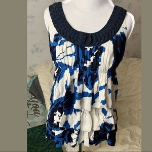 Tory Burch Blue Floral Print Silk Sleeveless Top